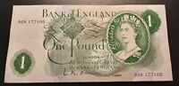 1960's 1970's -  BANK OF ENGLAND - One Pound  £1 Note-  No. 90H 177100 - O'Brien