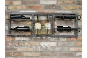 Industrial Wall Wine Unit and Glass Holder