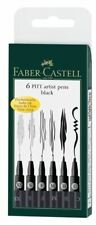 Faber-Castell PITT Artist Black India Ink Pens Assorted Nib Set of 6