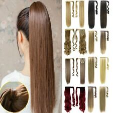 One Piece Wrap Around Ponytail Clip In Hair Extensions Pony Tail Fake Hair MS36