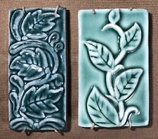 Pair of Vine & Leaves Green Art Pottery Tiles With Hangers