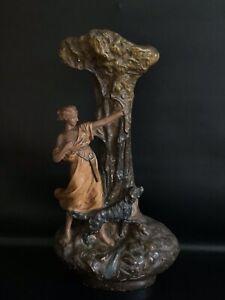 Große antike figürliche Jugendstil Historismus Keramik Vase RAR