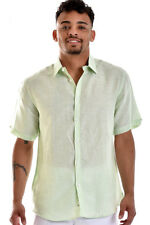 Mens Bohio 100% Linen Green with White Pinstripe S/S Shirt (S - 2XL) - MLS821