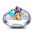 Size 6 Personalised Trio of Hearts Ring, 925 Sterling Silver Birthstones & Names