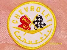 "Vintage Chevrolet Corvette Embroidered Patch White Yellow Piping 2 7/8"" Diameter"