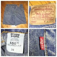 Vtg Levi's 550 Men's Red Tab Relaxed Fit Blue Jean Shorts Size 36