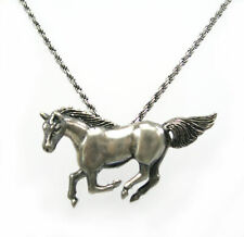 """Horse Pendant Solid 925 Sterling Silver Antique Chain Necklace 16"""" Long F305"""
