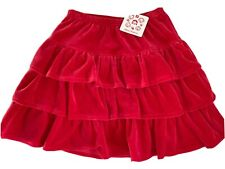 NEW Hanna Andersson Size 9-10 Red Velour Ruffled Skirt Size 140 Tiered