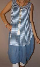 Italy Kleid Long Top Streifen Blogger Strand Tunika Ballon M 38 - 44 XL Blau