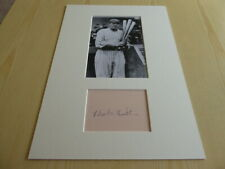 Babe Ruth Baseball mounted photograph & autograph card