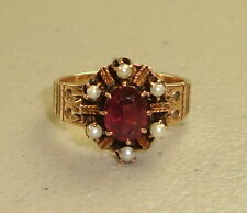 Antique Victorian 14k Rose Gold Oval Cut Garnet & Pearl Ring, Size 5.5