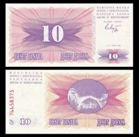 BOSNIA & HERZEGOVINA 10 Dinara, 1992, P-10, UNC World Currency
