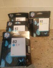 Lot of 4-HP #82 Cyan & yellow ink cartridges Genuine!