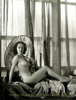 "Vintage Nude Woman with Parasol 8.5x11"" Photo Print Naked Female B&W Pinup"