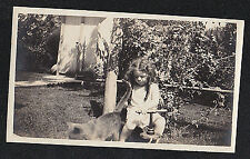 Vintage Antique Photograph Little Girl on Bike With Cat / Kitten in Yard