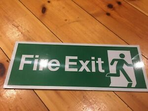 NEW British Army Rigid fire exit sign 145 x 395mm safety plastic arrow direction
