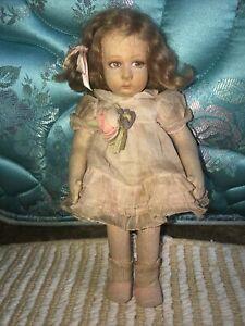 """Antique Lenci Doll 11"""" Felt Organdy Dress Flower"""