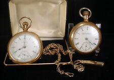 Lot 2 Antique ELGIN Open Face 15-17 Jewel Pocket Watches Gold Filled + Chain-NR