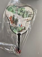 Vintage Hand Painted Chinese Silk Fan New Rare Mountain Landscape Gift Lot Of 3