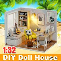 1:32 DIY Wooden LED Light Dollhouse Miniature Furniture Kit w/ Dust Cover Gift