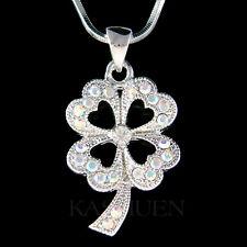 w Swarovski Crystal ~AB 4 Leaf Clover~ Shamrock Irish St Patricks Chain Necklace
