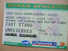 Ticket- WIGAN ATHLETIC v LEEDS UNITED, Coca Cola Championship, 19 Febr 2005