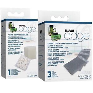 Fluval EDGE Aquarium Replacement Biomax Foam & Carbon Filter Kit Fish Tank Water