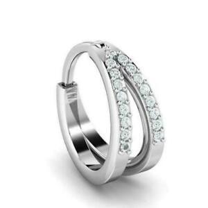 0.15 Ct Round Cut D/VVS1 Diamond Hoop Nose ring 14K White Gold Over
