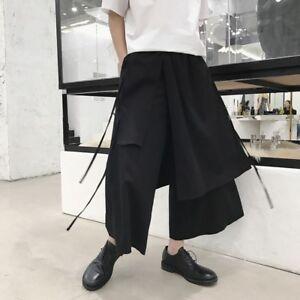 New Men's Wide Leg Pants Retro Asymmetric Japanese Trousers Culotte Ankle Pants