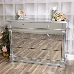 Large Mirrored Silver Chest of Drawers Glass Cabinet Hallway Bedroom Home Chic