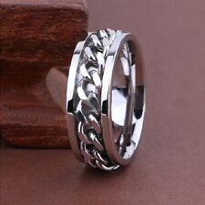 50 X Spinner silver chains Stainless steel Ring Jewelry Men's lots wholesale