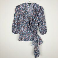 Lauren Ralph Lauren Jeans Co. Women's Blue Floral 3/4 Sleeve Ruffle Wrap Top XS