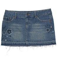 Aeropostale Womens Jeans Mini Skirt Junior Size 3 4 Distressed Cotton Blue Denim