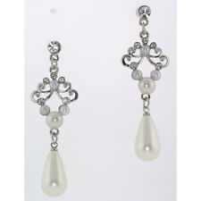 Faux Pearl Drop and Clear Crystal Stud Earrings-E-199