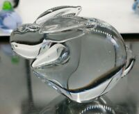 Murano Hand blown Clear Glass Bunny Rabbit Paperweight Figurine