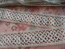 "1.5"" wide Cotton vintage Lace  Trim BOBBIN CLUNY  4+ yards insertion"
