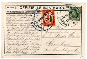 1912 Zeppelin Flight on Postcard Darmstadt