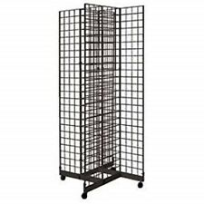 2' x 6' 4-Way Gridwall Display Fixture with Rolling Base- Black