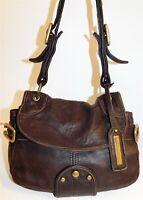 Kenneth Cole Brown Nappa Leather Shoulder Bag