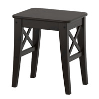 IKEA INGOLF Hocker braunschwarz Massivholz, Stuhl, Landhaus, Sitzbank, OVP NEU