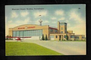 1938 Reading,PA - Municipal Airport Postcard