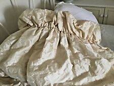 Long, Jaquard, Luxury, Thermal & Lined Curtains, With Ruffle Top, Cream.