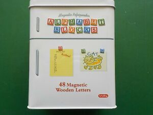 Schylling Magnetic Refrigerator Wooden Alphabet ABC Blocks 48 Count  (CL 1)
