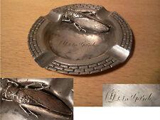 Ancien cendrier souvenir Notre Dame de la Garde cigale métal argenté début XXème
