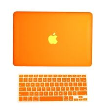 """2 in1 Rubberized ORANGE Hard Case for Macbook White13"""" A1342 with Keyboard Cover"""