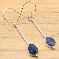 Drop Simulated SAPPHIRE Earrings ! 925 Silver Plated Over Solid Copper Jewelry