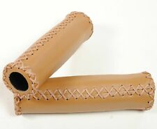 LEATHER BICYCLE CRUISER BIKE HANDLEBAR GRIPS BAR VINTAGE RETRO CLASSIC TAN/BROWN
