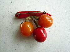 Vintage Bakelite Pin of Berries Hanging from a Red Stem