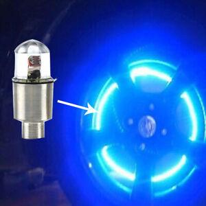 4* Car Auto Tire Wheel Tyre Air Valve Stem LED Light Caps Cover Accessories Blue