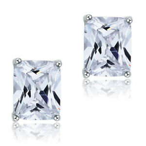 4 Carat Created Diamond Emerald Stud Bridal 925 Sterling Silver Earrings